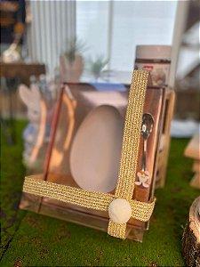Caixa Ovo de Colher - Meio Ovo de 350g - 20,5cm x 17cm x 6,5cm - Metalizada Rosê Gold - 5unidades - Assk - Páscoa Rizzo