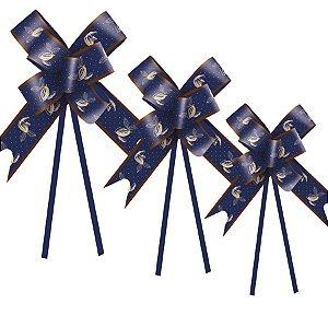 Laço Fácil Cacau Azul - 10 unidades - Cromus Páscoa - Rizzo Embalagens