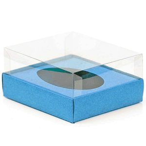 Caixa Ovo de Colher - Meio Ovo de 500g - 20,5cm x 17cm x 6,5cm - Azul - 5unidades - Assk - Páscoa Rizzo Embalagens