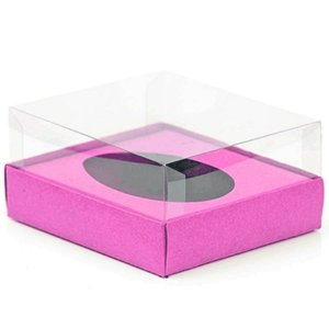 Caixa Ovo de Colher - Meio Ovo de 500g - 20,5cm x 17cm x 6,5cm - Rosa - 5unidades - Assk - Páscoa Rizzo Embalagens