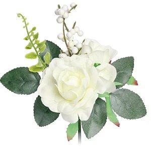 Pick 3 Botões de Rosa Brancas - 1 unidade - 18x9cm - Cromus - Rizzo Embalagens