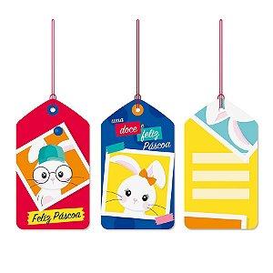 Tags De Para com cordão - Brilho de Páscoa - 12 unidades - Cromus Páscoa - Rizzo Embalagens