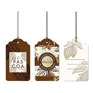 Tags De Para com cordão - Cacau - 12 unidades - Cromus Páscoa - Rizzo Embalagens