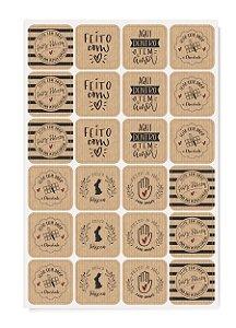 Cartela Adesiva Feito com Amor - 48 etiquetas - Linha Feito a Mão Kraft - Cromus Páscoa - Rizzo Embalagens