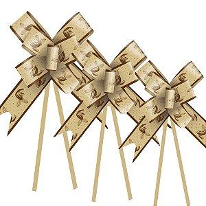 Laço Fácil Cacau Ouro - 10 unidades - Cromus Páscoa - Rizzo Embalagens