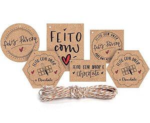 Kit Fechamento Para Presente Feito com Amor - 13 Peças - Cromus Páscoa - Rizzo Embalagens