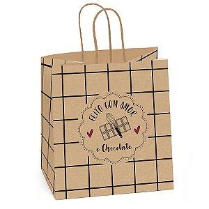 Sacola para Meio Ovo 350g  - Quadriculada - Feito com Amor - 10 Unidades - Cromus Páscoa - Rizzo Embalagens