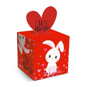 Caixa Pop Up Amor de Coração P 7x7x7cm - 10 unidades - Cromus Páscoa - Rizzo Embalagens