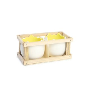 Caixa com 2 Meio Ovos Amarelo P ( Guloseima ) - Jogo com 2 peças - Cromus Páscoa