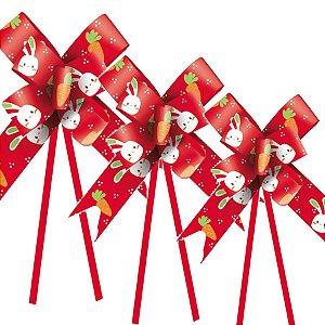 Laço Fácil Vida de Coelho Vermelho - 10 unidades - Cromus Páscoa - Rizzo Embalagens