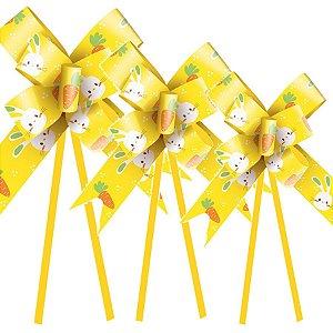 Laço Fácil Vida de Coelho Amarelo - 10 unidades - Cromus Páscoa - Rizzo Embalagens