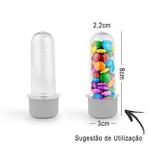Mini Tubete Lembrancinha 8cm 10 unidades - Transparente - Rizzo Embalagens e Festas