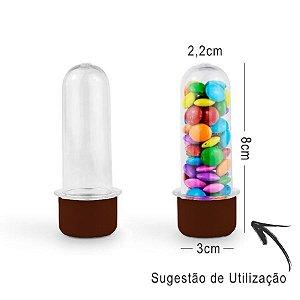 Mini Tubete Lembrancinha 8cm 10 unidades - Marrom - Rizzo Embalagens e Festas