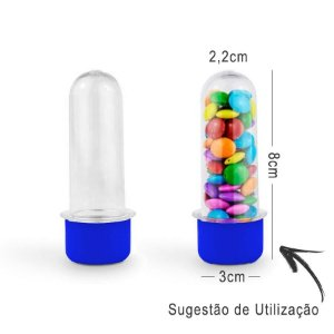 Mini Tubete Lembrancinha 8cm 10 unidades - Azul Escuro - Rizzo Embalagens e Festas