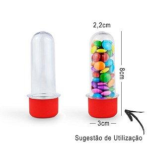 Mini Tubete Lembrancinha 8cm 10 unidades - Vermelho - Rizzo Embalagens e Festas