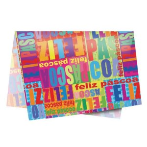 Papel de Seda - 49x69cm - Páscoa Feliz - 10 folhas - Rizzo Embalagens