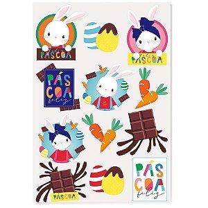 Cartela Adesiva Brilho de Páscoa - 24 etiquetas - Cromus Páscoa - Rizzo Embalagens