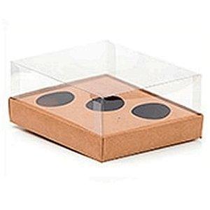 Caixa Ovo de Colher Triplo - Meio Ovo de 50g a 80g - Kraft - 20,5 x 17 x 6,5 cm - 5 un - Assk Rizzo Embalagens