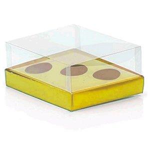 Caixa Ovo de Colher Triplo - Meio Ovo de 50g a 80g - Metalizado Ouro - 20,5x17x6,5cm - 5 un - Assk Rizzo Embalagens