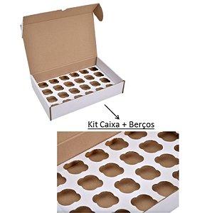 Caixa para Transporte 24 Mini Cupcakes com berço 22x34x7cm - Niagara - Rizzo Embalagens