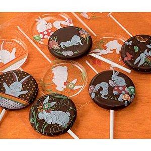 Blister Decorado com Transfer para Chocolate Pirulito de Páscoa 5cm BLP0133 Stalden Rizzo Embalagens