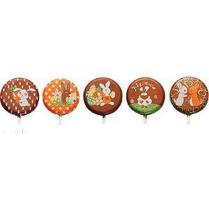 Blister Decorado com Transfer para Chocolate Pirulito de Páscoa 5cm BLP0118 Stalden Rizzo Embalagens