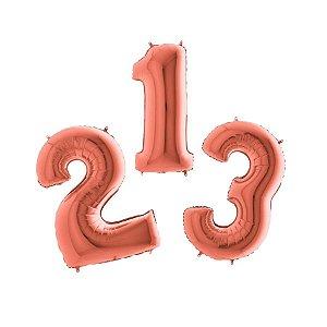 """Balão de Festa 40"""" 102cm - Número Rose Gold - 01 Unidade - Grabo - Rizzo Embalagens"""