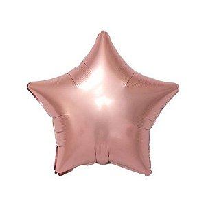 """Balão de Festa Metalizado 20"""" 50cm - Estrela Rose Gold - 01 Unidade - Flexmetal - Rizzo Embalagens"""