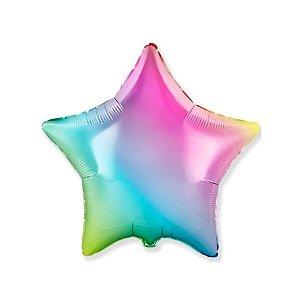 """Balão de Festa Metalizado 20"""" 50cm - Estrela Cromado Gradient - 01 Unidade - Flexmetal - Rizzo Embalagens"""