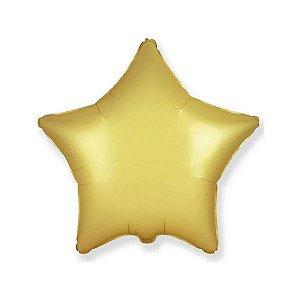 """Balão de Festa Metalizado 20"""" 50cm - Estrela Cromado Ouro Pastel - 01 Unidade - Flexmetal - Rizzo Embalagens"""
