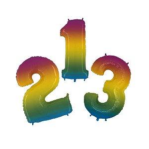 """Balão de Festa 16"""" 41cm - Número Gradient - 01 Unidade - Funny Fashion - Rizzo Embalagens"""