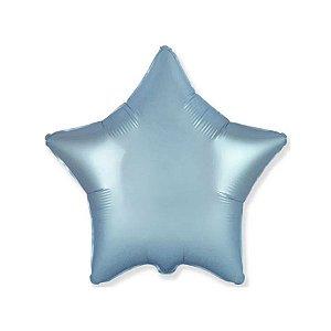 """Balão de Festa Metalizado 20"""" 50cm - Estrela Cromado Azul Pastel - 01 Unidade - Flexmetal - Rizzo Embalagens"""