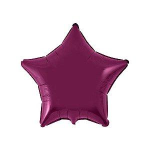 """Balão de Festa Metalizado 20"""" 50cm - Estrela Burgundy - 01 Unidade - Flexmetal - Rizzo Embalagens"""