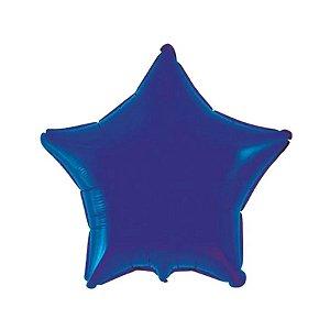 """Balão de Festa Metalizado 20"""" 50cm - Estrela Azul Marinho - 01 Unidade - Flexmetal - Rizzo Embalagens"""