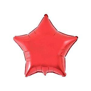 """Balão de Festa Metalizado 20"""" 50cm - Estrela Vermelho - 01 Unidade - Flexmetal - Rizzo Embalagens"""