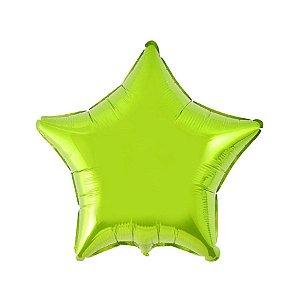 """Balão de Festa Metalizado 20"""" 50cm - Estrela Verde Limão - 01 Unidade - Flexmetal - Rizzo Embalagens"""