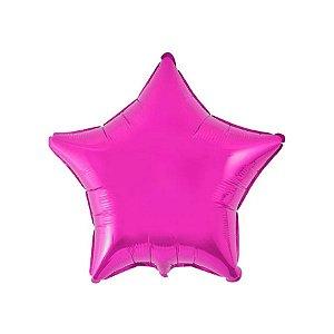 """Balão de Festa Metalizado 20"""" 50cm - Estrela Pink - 01 Unidade - Flexmetal - Rizzo Embalagens"""