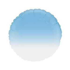 """Balão de Festa Metalizado 20"""" 50cm - Redondo Gradient Azul Baby - 01 Unidade - Flexmetal - Rizzo Embalagens"""