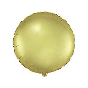 """Balão de Festa Metalizado 20"""" 50cm - Redondo Ouro Pastel - 01 Unidade - Flexmetal - Rizzo Embalagens"""