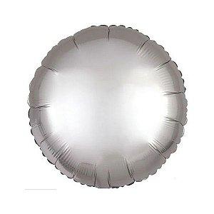 """Balão de Festa Metalizado 20"""" 50cm - Redondo Cromado Platinum - 01 Unidade - Flexmetal - Rizzo Embalagens"""