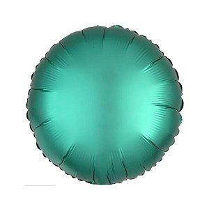 """Balão de Festa Metalizado 20"""" 50cm - Redondo Verde Jade - 01 Unidade - Flexmetal - Rizzo Embalagens"""