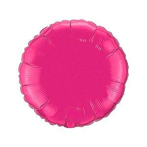 """Balão de Festa Metalizado 20"""" 50cm - Redondo Pink Rhodamine - 01 Unidade - Flexmetal - Rizzo Embalagens"""