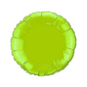 """Balão de Festa Metalizado 20"""" 50cm - Redondo Verde Limão - 01 Unidade - Flexmetal - Rizzo Embalagens"""