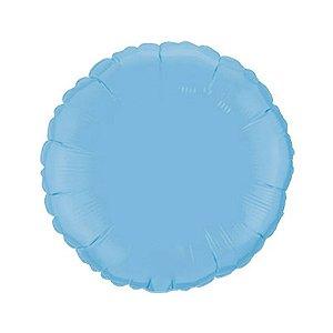 """Balão de Festa Metalizado 20"""" 50cm - Redondo Azul Baby - 01 Unidade - Flexmetal - Rizzo Embalagens"""