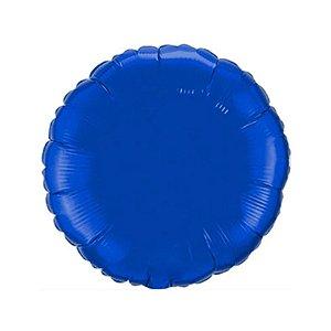 """Balão de Festa Metalizado 20"""" 50cm - Redondo Azul - 01 Unidade - Flexmetal - Rizzo Embalagens"""