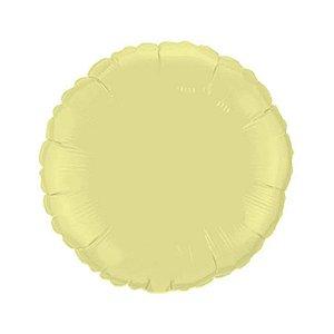 """Balão de Festa Metalizado 20"""" 50cm - Redondo Amarelo Baby - 01 Unidade - Flexmetal - Rizzo Embalagens"""