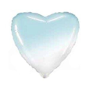 """Balão de Festa Metalizado 20"""" 50cm - Coração Gradient Azul Baby - 01 Unidade - Flexmetal - Rizzo Embalagens"""