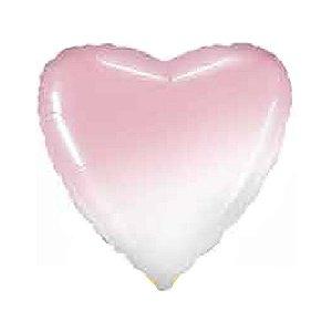 """Balão de Festa Metalizado 20"""" 50cm - Coração Gradient Rosa Baby - 01 Unidade - Flexmetal - Rizzo Embalagens"""