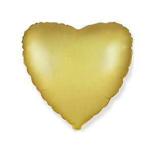 """Balão de Festa Metalizado 20"""" 50cm - Coração Ouro Pastel - 01 Unidade - Flexmetal - Rizzo Embalagens"""