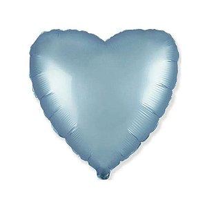 """Balão de Festa Metalizado 20"""" 50cm - Coração Azul Pastel - 01 Unidade - Flexmetal - Rizzo Embalagens"""